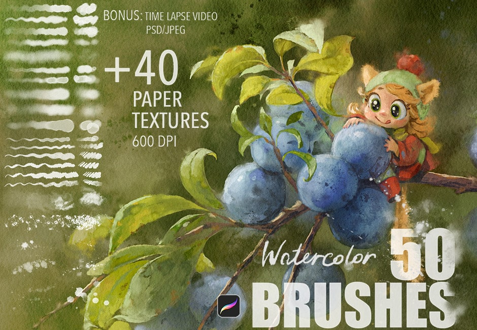 Procreate Watercolor Brushes Paper Textures