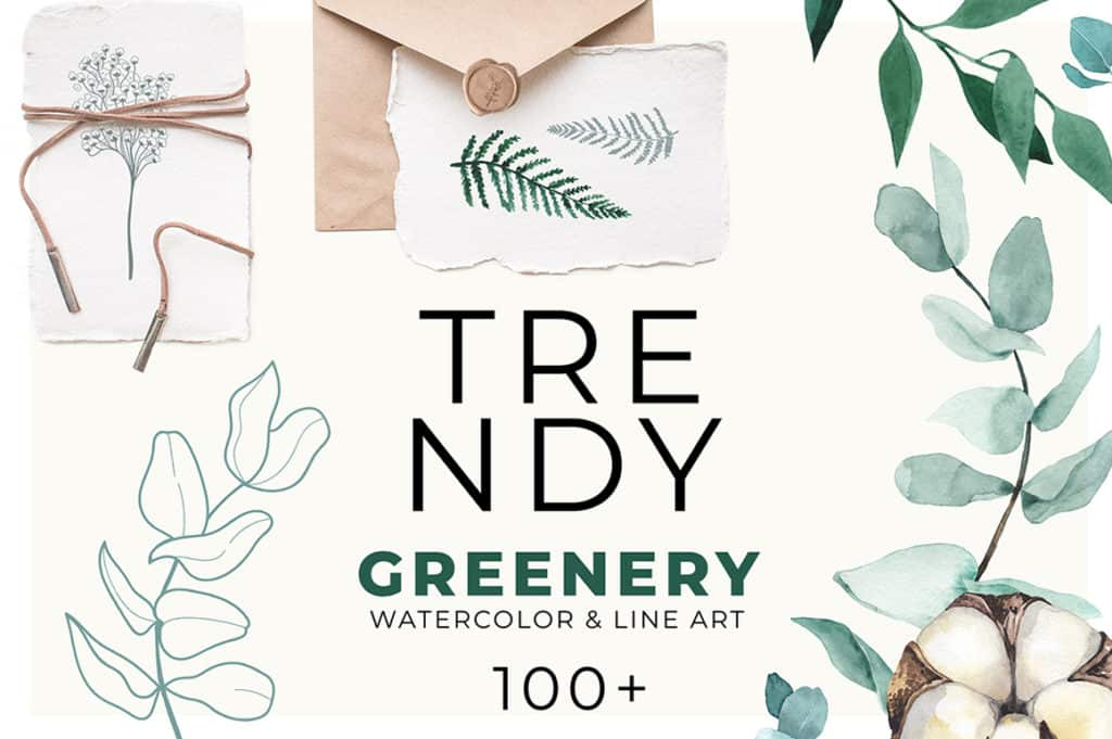 Trendy Greenery- Watercolor & Line Art Collection