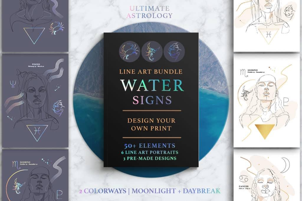 Ultimate Astrology Water Signs Illustration Bundle